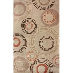 nuLOOM Handmade Beige Norwegian Geometric Circle Orbit Rug (7'6 x 9'6)