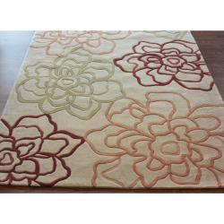 nuLOOM Handmade Beige Norwegian Floral Pattern Sketch Rug (7'6 x 9'6)