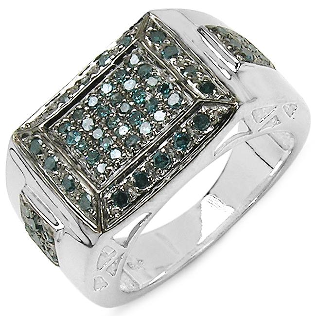 Malaika Sterling Silver 1/2ct TDW Blue Diamond Fashion Ring