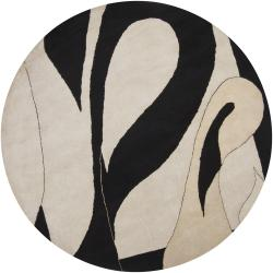 Hand-tufted Mandara Ivory New Zealand Wool Rug (7'9 Round)