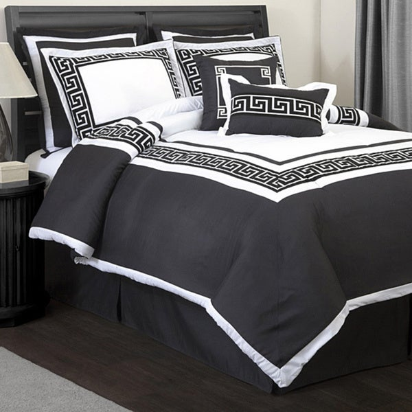 Lush decor metropolitan white black 8 piece queen size - Black and white bedding sets ...