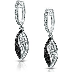 Auriya 14k White Gold 1/2ct TDW Black and White Dangle Diamond Earrings (G-H, I1-I2)