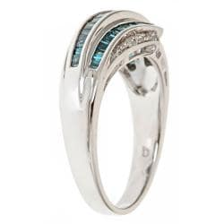 D'Yach Sterling Silver 5/9ct TDW Blue Diamond Fashion Cocktail Ring (G-H - I1-I2)