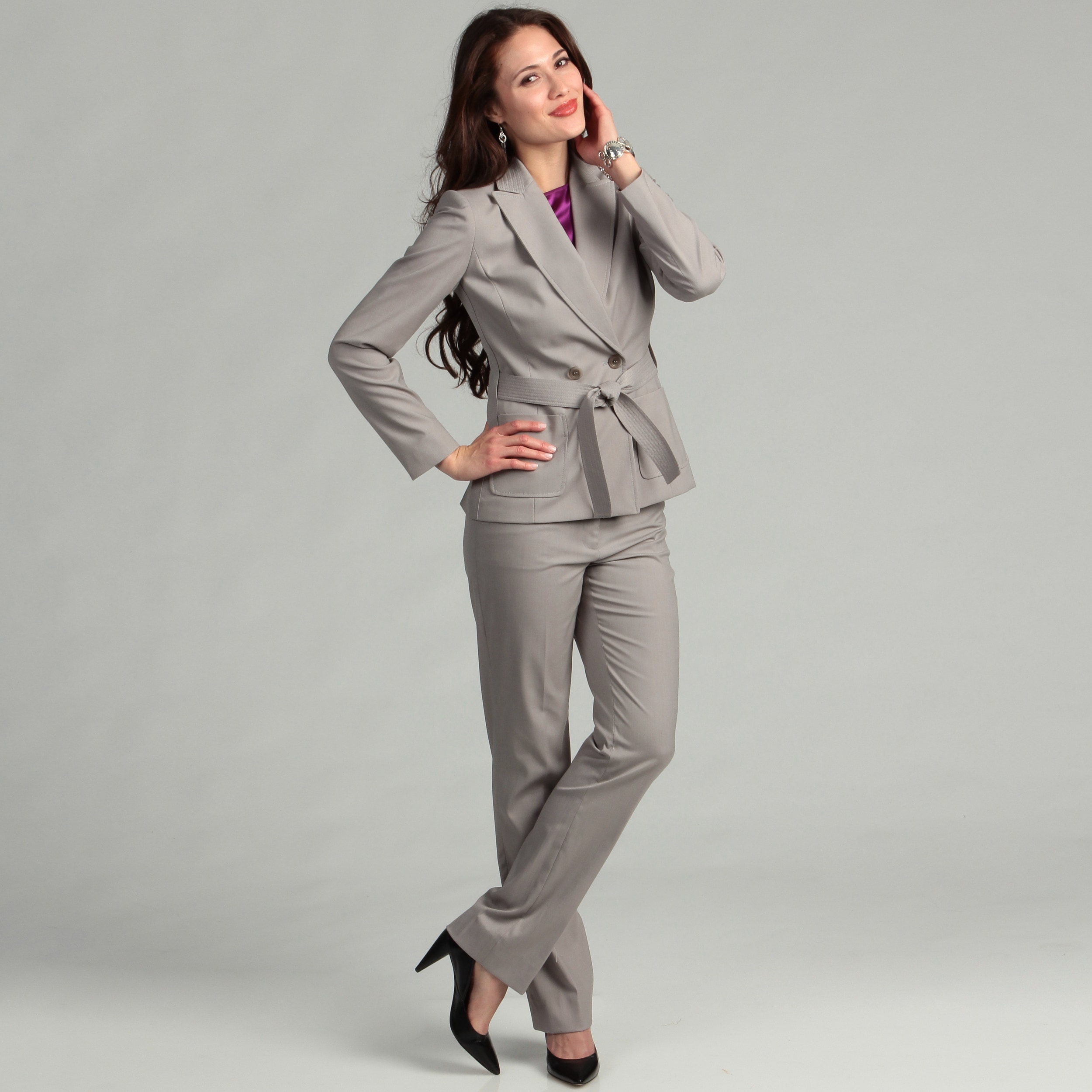 Lastest A St John Sport By Marie Gray Womens Jacket And Pant Suit The Long Sleeve Jacket Features A Logo And Checkerboard Pattern Tonal Jacquard With Faux Leather Trim Around The Collar And At The Cuffs Silver Tone Hardware Decorate The Jacket