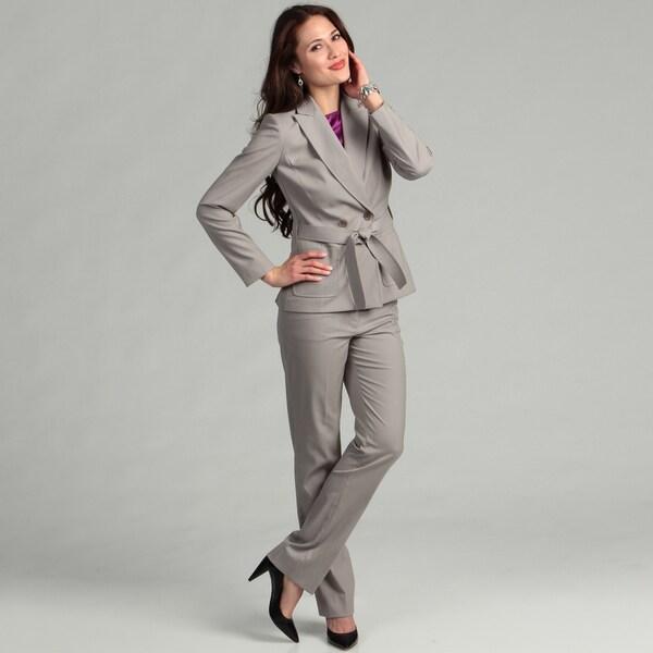 Tahari Womens Grey Belted Pant Suit