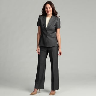 Tahari Women's Dark/ Grey Striped Pant Suit