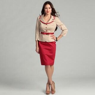 Tahari Women's Tan/ Red Poplin Skirt Suit