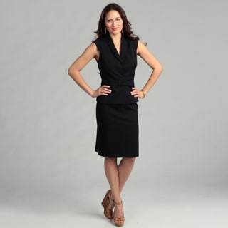 Tahari Women's Navy Cap-sleeve Skirt Suit
