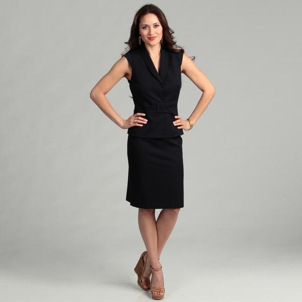 Tahari Women's Navy Cap-sleeve Skirt Suit