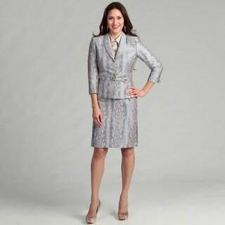 Tahari Women's Snake Skin Bead Detail Skirt Suit