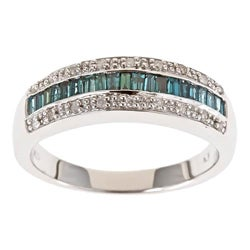 Anika and August D'Yach Sterling Silver 1/2ct TDW Blue Diamond Ring (G-H, I1-I2)
