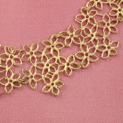 Handcrafted Brass Floral Cut-Outs Links Bib Necklace ( India)
