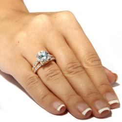 PalmBeach 4.42 TCW Round Cubic Zirconia 14k Gold-Plated Engagement Anniversary Split-Shank Ring Classic CZ