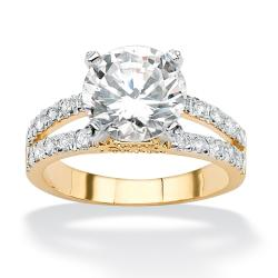 Ultimate CZ 14k Goldplated Round-cut Cubic Zirconia Ring