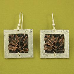 Handcrafted Pewter Grape Leaves Square Frame Cord Necklace and Earrings Set (India)