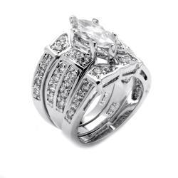 Ultimate CZ Silvertone Marquise and Round Cubic Zirconia Ring Set