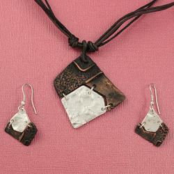Handcrafted Pewter & Copper Asymmetrical Tribal Necklace and Earrings Set (India)