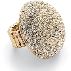 PalmBeach Crystal Dome Stretch Ring in Yellow Gold Tone Bold Fashion