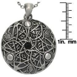 CGC Pewter Unisex Black Glass Stone Celtic Fantasy Wishes Necklace