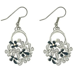 CGC Silvertone Clear Cubic Zirconia Flower Design Dangle Earrings