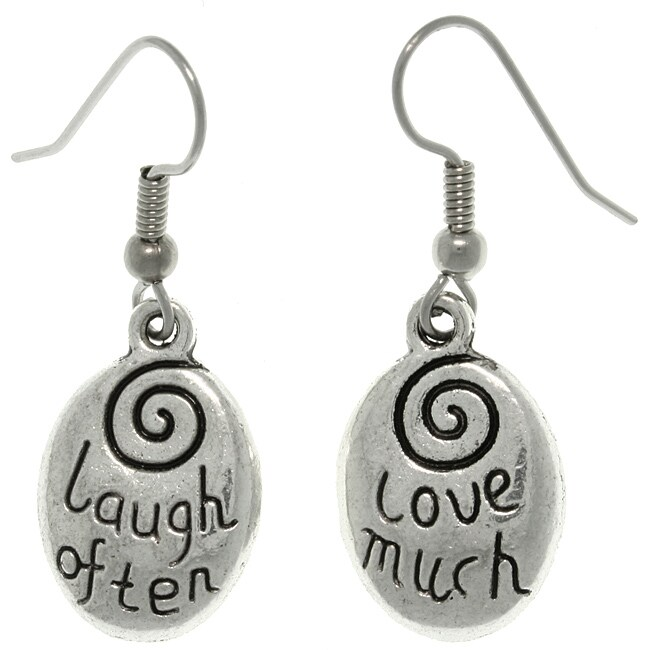 Carolina Glamour Collection Pewter 'Laugh Often/ Love Much' Message Earrings