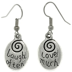 CGC Pewter 'Laugh Often/ Love Much' Message Earrings