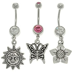 CGC Stainless Steel Sun, Butterfly and Flower Charm Belly Barbells (Set of 3)