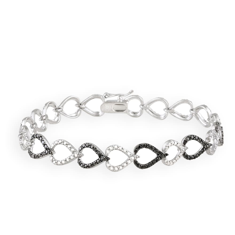 DB Designs Black Diamond Accent Black And White Heart Link Bracelet