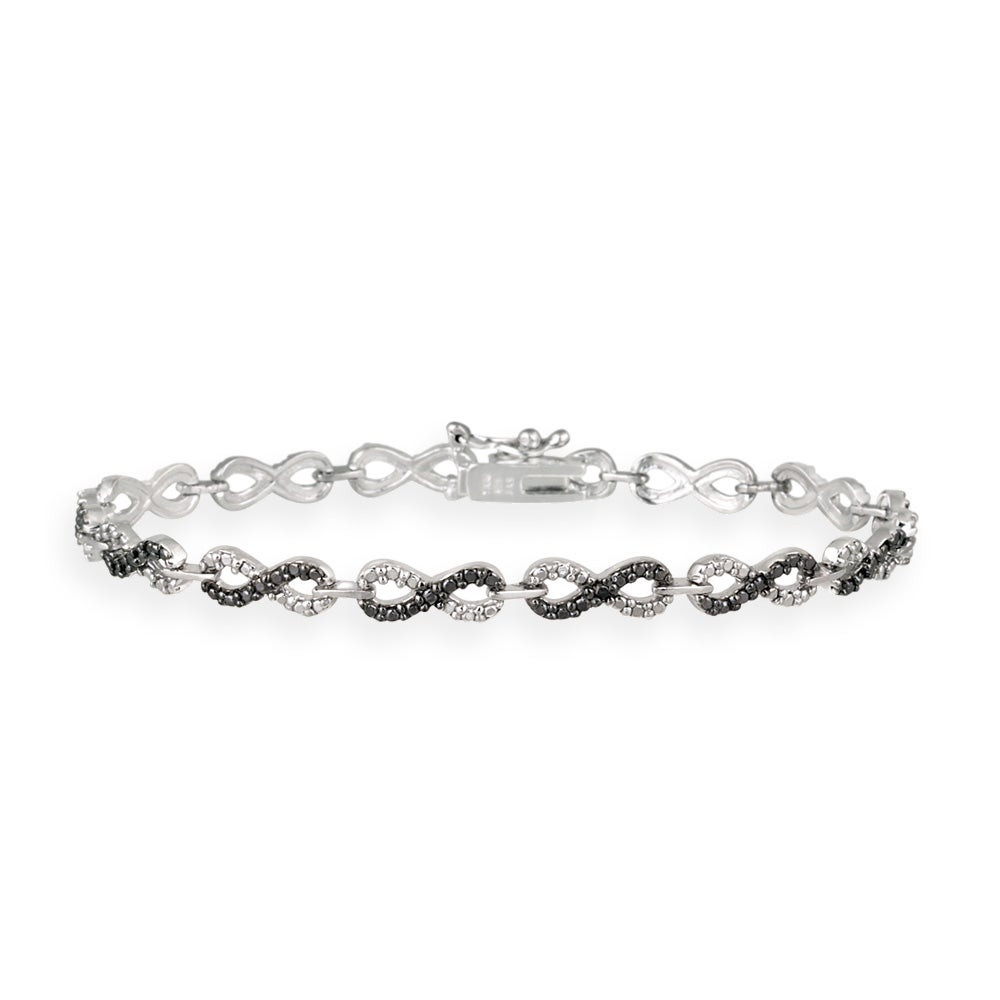 DB Designs Silvertone Black Diamond Accent Black And White Infinity Bracelet