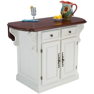 Traditions White and Cherry Kitchen Island