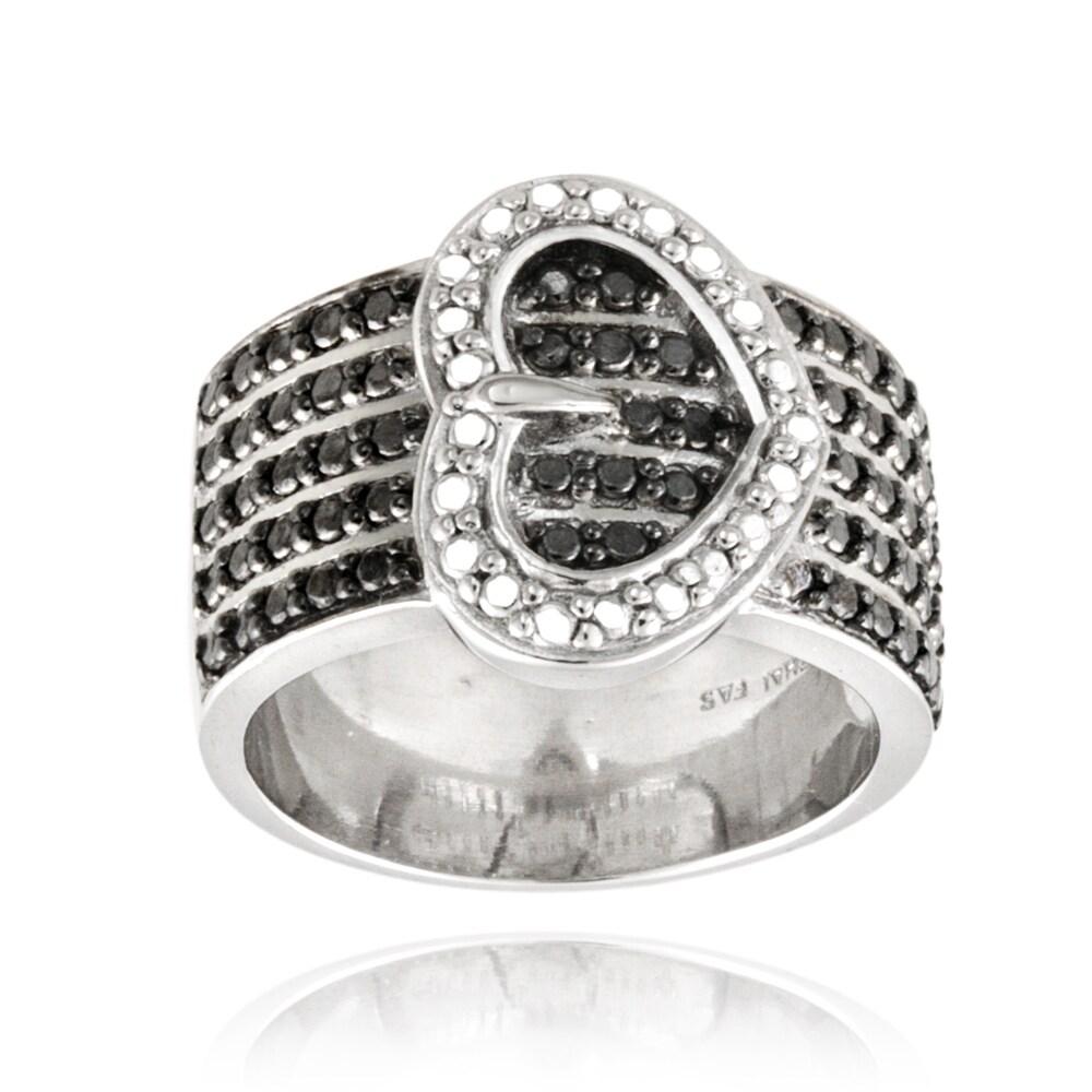 DB Designs Silvertone Black Diamond Accent Heart Buckle Ring