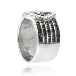 DB Designs Silvertone Black Diamond Accent Heart Buckle Ring