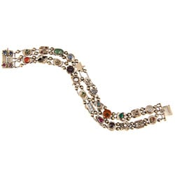 14k Yellow Gold Multi-gemstone Antique Slide Estate Bracelet