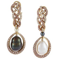 Pre-owned 18k Gold Pearl and 8ct TDW Pink/ White Diamond Earrings (G-H, SI1-SI2)