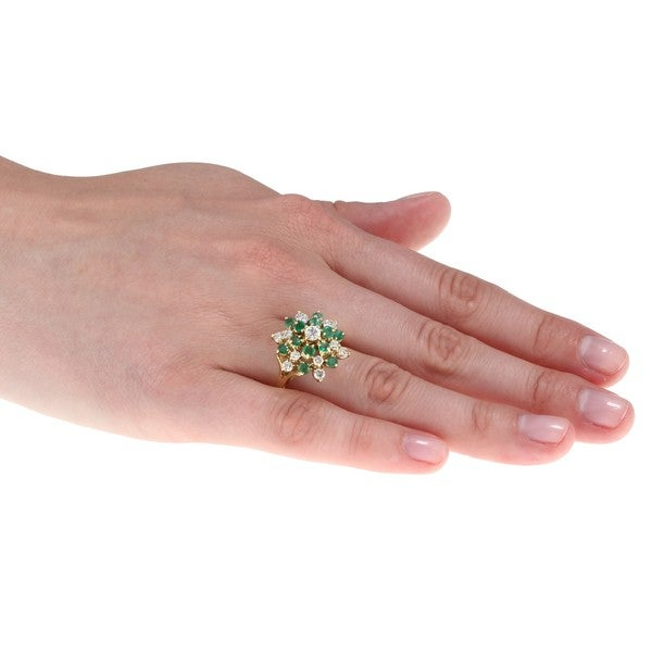 14k Gold Emerald and 1ct TDW Diamond Estate Cocktail Ring (I-J, SI1-SI2)