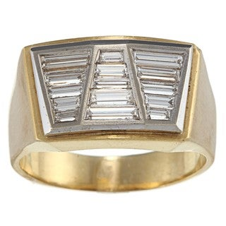 18k Gold and Platinum Art Deco Men's 1 3/4ct TDW Diamond Estate Ring (G-H, SI1-SI2)