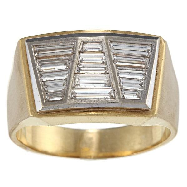 18k Gold and Platinum Art Deco Men's 1 3/4ct TDW Diamond Estate Ring (G-H, SI1-SI2)