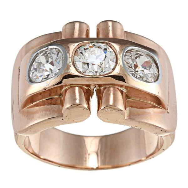 18k Rose Gold 2 1/2ct TDW Old Mine Cut Diamond Art Deco Estate Ring (K-L, SI1-SI2)