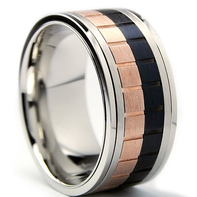 Oliveti Tri-color Stainless Steel Men's Spinner Ring (10 mm)