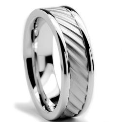 Oliveti Stainless Steel Men's Brushed Ring (7 mm)