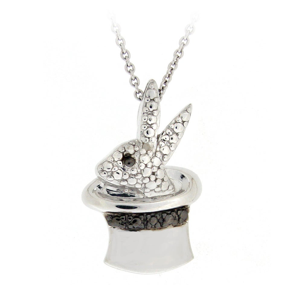 DB Designs Sterling Silver Black Diamond Accent Rabbit In Magicians Hat Necklace