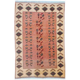 Afghan Hand-knotted Vegetable Dye Salmon/ Beige Wool Rug (5' x 7'7)