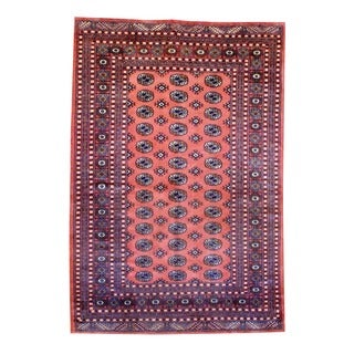 Herat Oriental Pakistani Hand-knotted Bokhara Salmon/ Ivory Wool Rug (5'1 x 7'6)