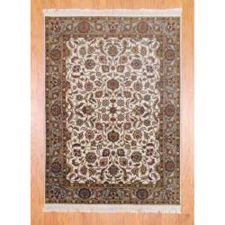 Herat Oriental Indo Hand-knotted Mahal Ivory/ Brown Wool Rug (5' x 6'11)