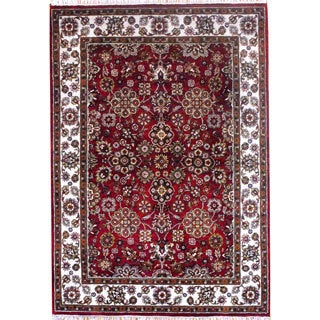 Herat Oriental Indo Hand-knotted Mahal Red/ Ivory Wool Rug (4'11 x 7')