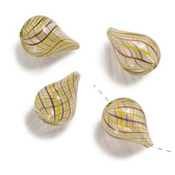 Beadaholique Blown Glass Brown Yellow Swirl Fat Drop Beads 25mm (Set of 4)