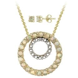 Glitzy Rocks Gold over Silver Diamond Accent Necklace and Stud Earring Set