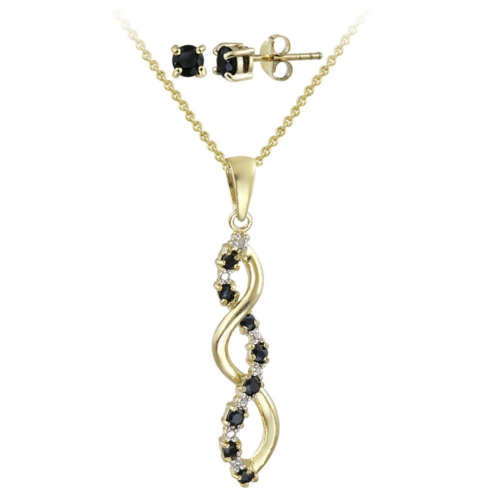 Glitzy Rocks Gold over Silver Diamond Accent Necklace and Earring Set