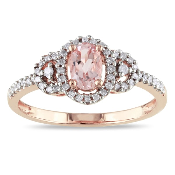 Miadora 10k Pink Gold Morganite and 1/6ct TDW Diamond Ring (H-I, I2-I3)