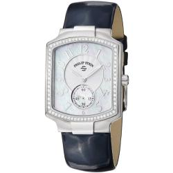 Philip Stein Women's 21D-FMOP-LN 'Signature' Mother of Pearl Dial Blue Strap Watch